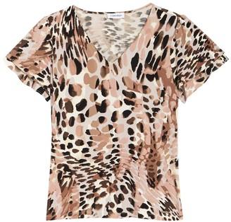 Calvin Klein Animal Print Double Tier Short Sleeve Top