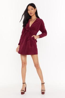 Nasty Gal Womens Record-uroy Breaker Belted Blazer Dress - Maroon - 6