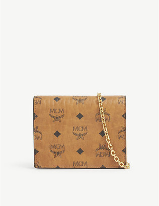 MCM Visetos leather cross-body card holder