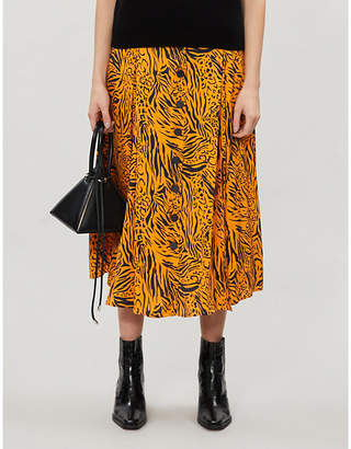 Selfridges Kitri Lydia animal-print crepe midi skirt