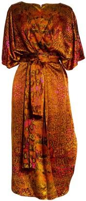 Carmen Molina Pink Leopard Silk Wrap Kaftan