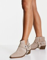 Thumbnail for your product : Steve Madden gold western heeled ankle boots in beige suede