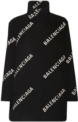 Balenciaga All Over Logo Wool Blend Cocoon Coat