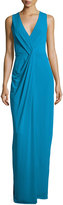 Halston Sleeveless Drape-Front Evening Gown, Turquoise