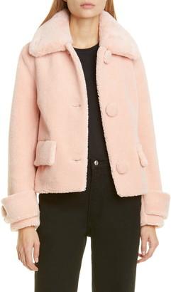 Stand Studio Regina Faux Fur Crop Teddy Jacket