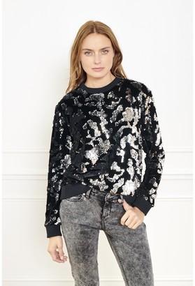 MKT Studio Sandex Sequin Sweat Sweatshirt - polyester   black   S/UK10 - Black/Black
