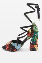 Rhapsody embroidered platform heel sandals