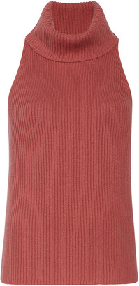 Sally LaPointe Turtleneck Wool-Cashmere Tank Top