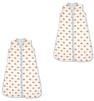 Luvable Friends Baby Boy and Girl Muslin Wearable Sleeping Bag, 2 Pack, Fox, 6-12 Months