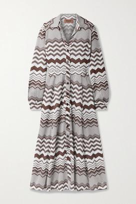 Missoni Crochet-knit Shirt Dress - Brown