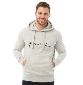 French Connection Mens Over The Head Logo Hoodie Light Grey Melange/White