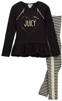 Juicy Couture Heart Zipper Tunic & Striped Legging Set (Toddler Girls)