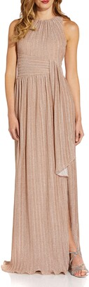 Adrianna Papell Metallic Micropleated Sleeveless Gown