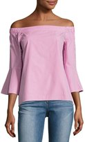 Neiman Marcus Off-the-Shoulder Plaid Blouse, Pink/White