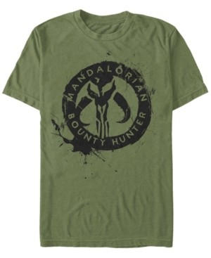 Star Wars Men's The Mandalorian Bounty Hunter Ink Logo Short Sleeve T-Shirt