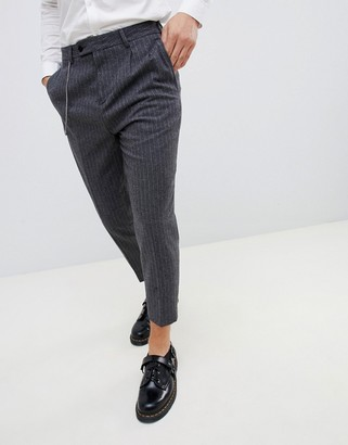Twisted Tailor tapered fit pants with pleat in pinstripe-Gray