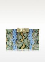 Maison Du Posh Green, Gold and Light Blue Python Leather Knuckle Clutch