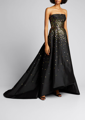 Monique Lhuillier Strapless Embroidered High-Low Taffeta Gown