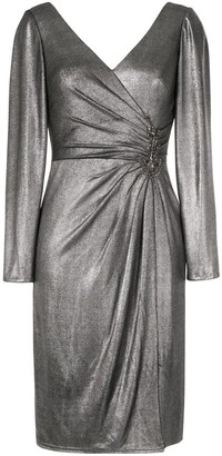 Marchesa Notte Long Sleeve Draped Cocktail