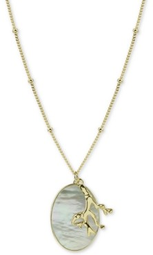 "Argentovivo Mother-of-Pearl Disc & Coral-Inspired Charm Pendant Necklace in Gold-Plated Sterling Silver, 30"" + 2"" extender"
