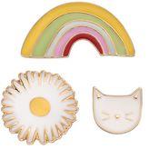 Lauren Conrad Cat, Flower & Rainbow Pin Set