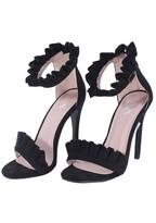 AX Paris Black Ruffle Detail Stilletto Heels
