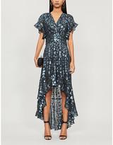 BA&SH Grace metallic leopard-print silk-blend dress