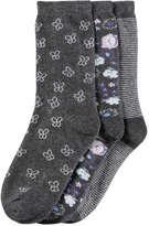 Joe Fresh Kid Girls' 3 Pack Butterfly Print Socks, Charcoal (Size 11-2)