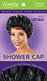 Annie Shower Cap - Black, Vinyl material, elastic band, extra large, large, won't fall off your head,