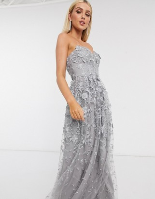 Bariano 3d floral gown dress in grey