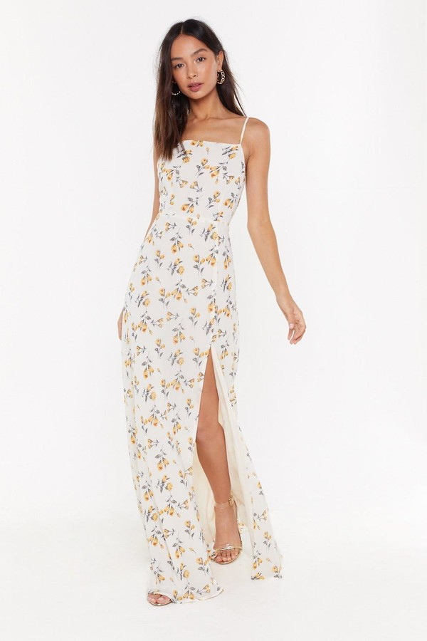 Nasty Gal Womens Floral Slit Cami Maxi Dress - White - 8