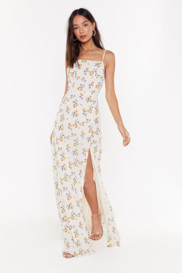Nasty Gal Womens Floral Slit Cami Maxi Dress - White - 8
