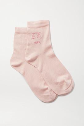 Maria La Rosa Libra Embroidered Silk-blend Socks - Blush