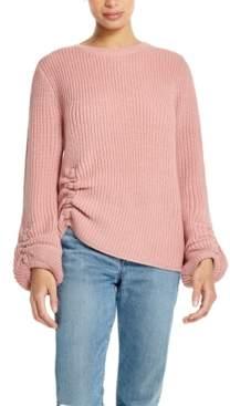 Weatherproof Vintage Balloon-Sleeve Ruched Sweater