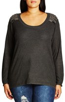 City Chic Embellished Shoulder Drop Tail Sweater (Plus Size)