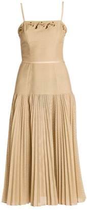 Fendi Spaghetti Strap Embellished Perforated Dress