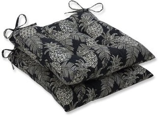 Bay Isle Home Emeline Batik Wrought Iron Indoor/Outdoor Dining Chair Cushion Fabric: Noche