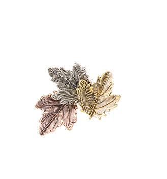 Bubbly Bows Women's Brooches and Pins - Tri-Tone Leaf Brooch