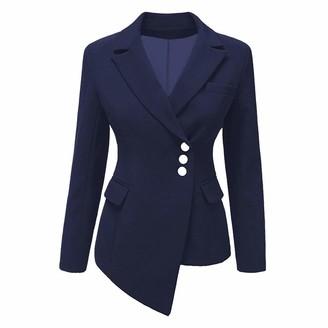 HOOUDO Women's Fashion Blazer OL Style Long Sleeve Irregular Elegant Slim Suit Cardigan Overcoat Outwear Jacket Coat(Large