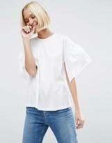 Asos Taffeta Sleeve T-Shirt