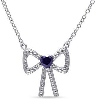 Tangelo 1/3 Carat T.G.W. Created Blue Sapphire Sterling Silver Bow Heart Necklace, 18