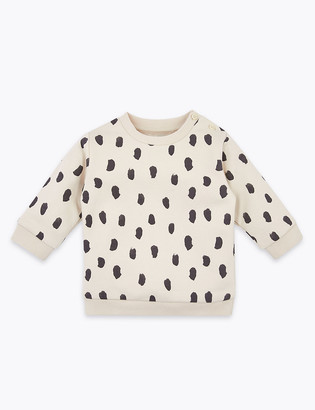Marks and Spencer Cotton Rich Dash Print Sweatshirt (0-3 Yrs)