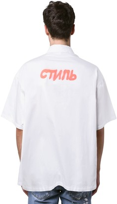 Heron Preston Ctnmb Spray Print Cotton Ss Shirt