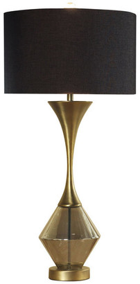 Harp and Finial Lucia Table Lamp, Matte Antique Brass Finish w/ Reverse Plated Smoke G