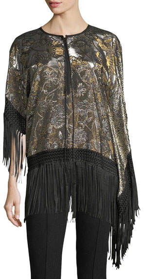 Andrew Gn Fringed Lamé; Tunic Blouse