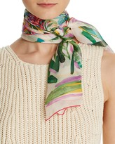 Salvatore Ferragamo Abstract Floral Print Silk Scarf