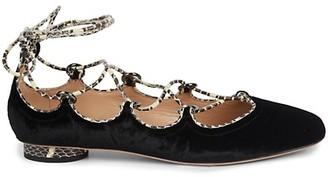 Valentino Snakeskin Leather-Trim Velvet Flats