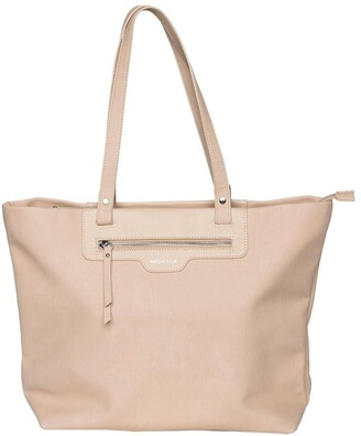 Mocha Ginni Top-Zip Tote Bag - Nude