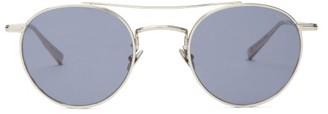 Garrett Leight Rimowa X Glco Round Metal Sunglasses - Navy