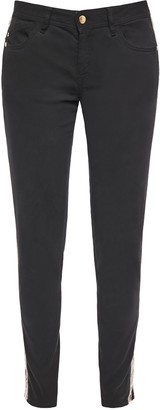 Just Cavalli Faux Leather-trimmed Mid-rise Slim-leg Jeans